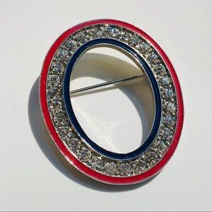 Vintage oval rhinestone brooch pin silver red
